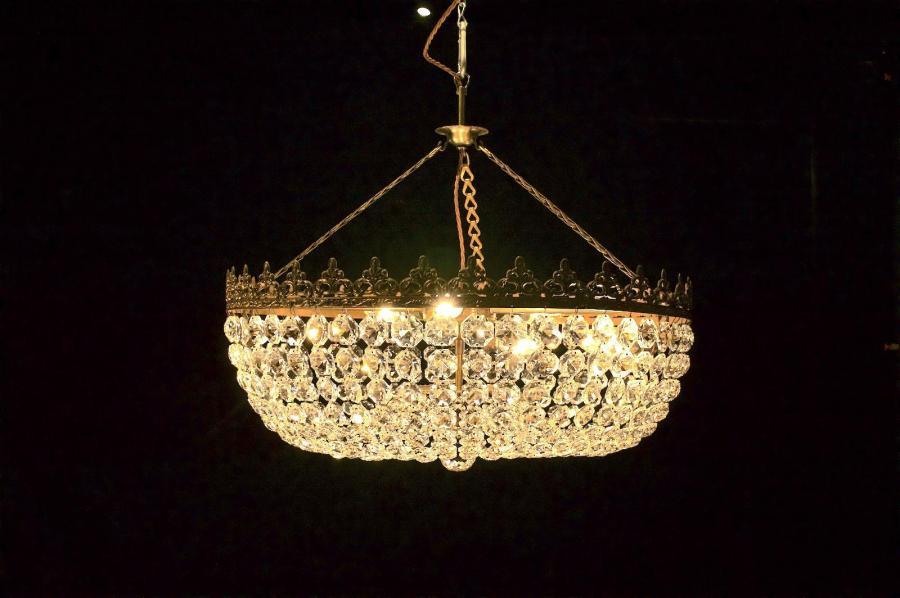 """Delphine"" Vintage Circular Crystal Chandelier (Gil:0528)"