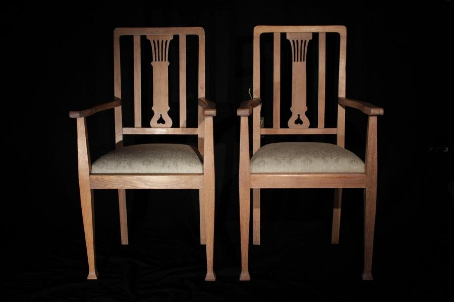 Art Deco Period Oak Armchairs (Gil:0519)