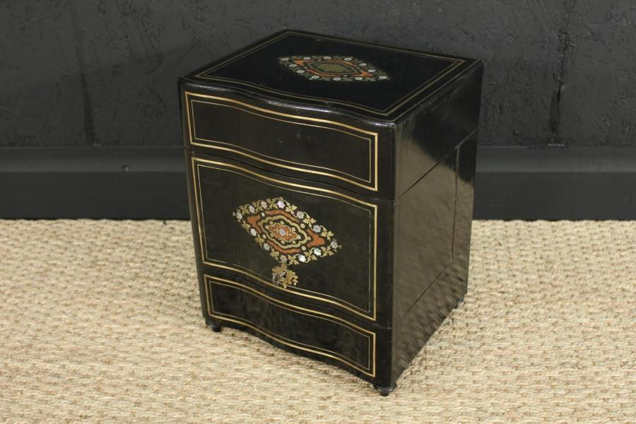 Antique French Ebonized & Brass Inlaid Decanter Cabinet – Tantalus