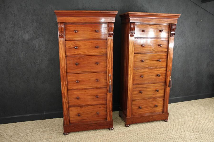 A Pair of Mahogany Antique Wellington Chests