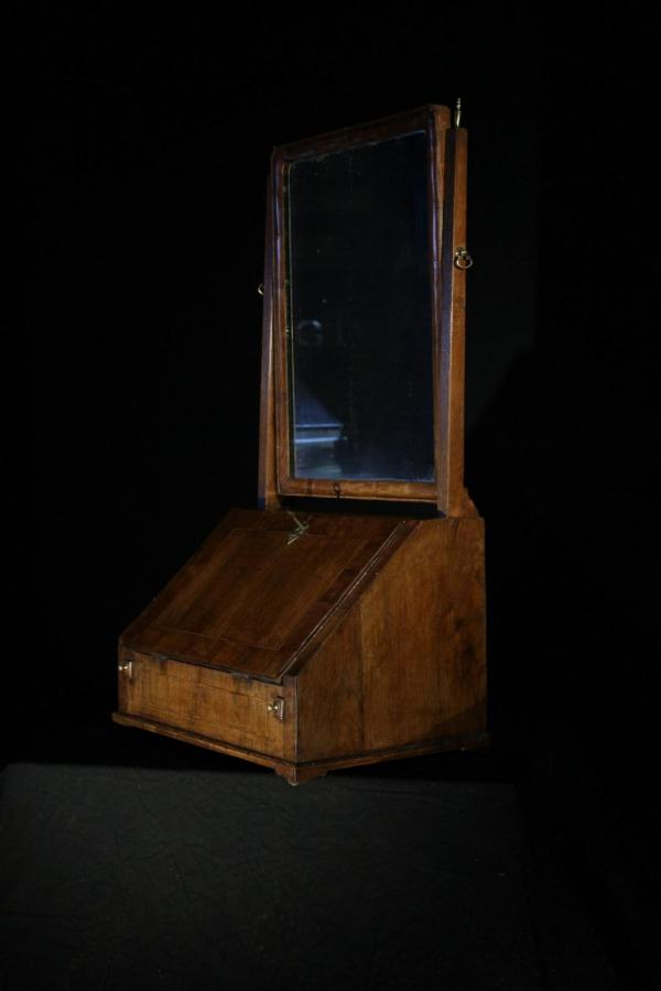 Early Georgian Walnut Table Bureau Dressing Mirror (Gil:0523)