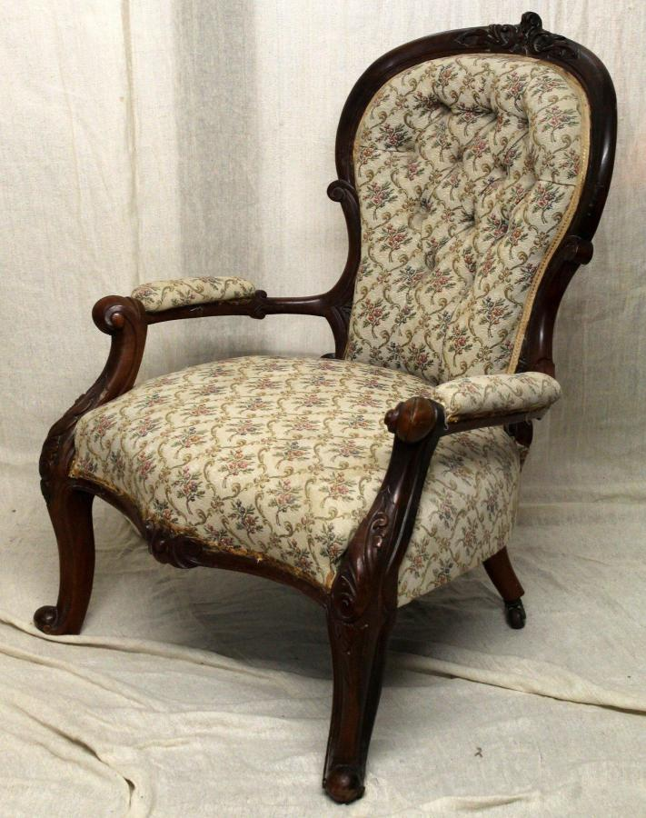 Victorian Antique Queen Anne Style Spoon Back Armchair