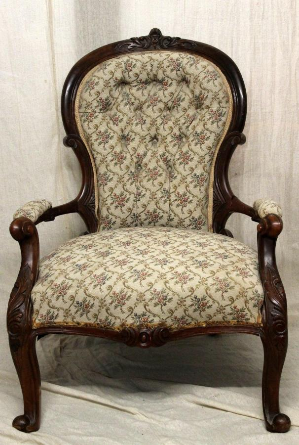 - Victorian Antique Queen Anne Style Spoon Back Armchair