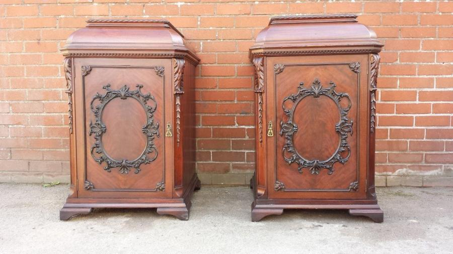 PAIR 19TH FLAME MAHOGANY CHIPPENDALE BEDSIDE
