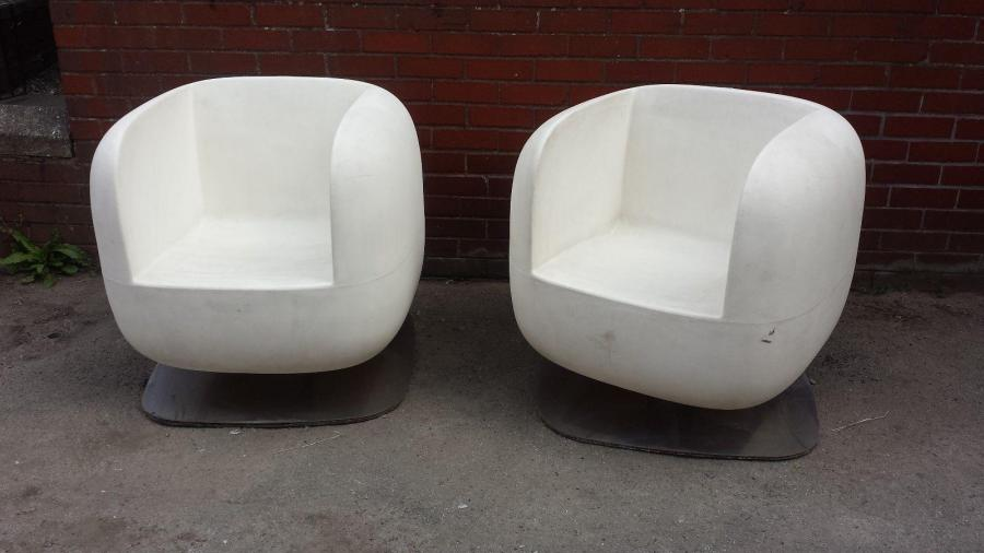 PAIR OF STEFANO GETZEL ARMCHAIR ''LUXY'' WHITE