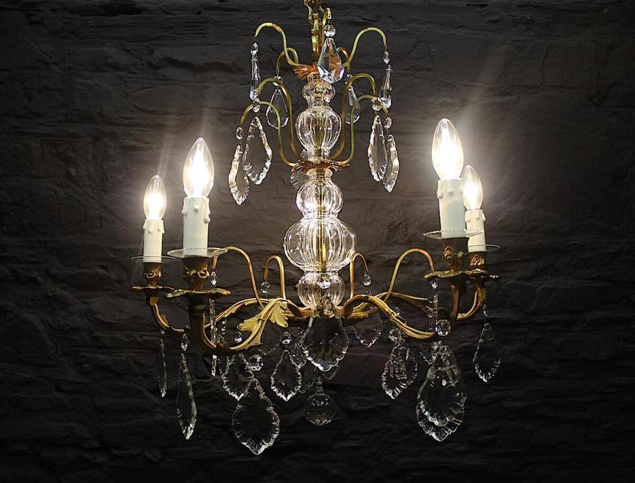 French Bronze Five Lamp Chandelier (Gil:0403)