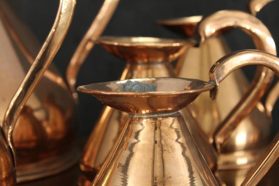 Antique Copper Measuring Jugs