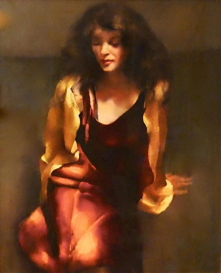 "R.O. Lenkiewicz – ""Study / Karen on the studio floor"" – original oil on canvas"
