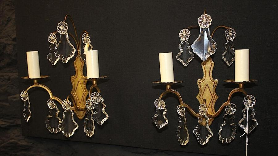 Period Bronze/Brass Twin Armed Sconce Set (pair) Circa 1930