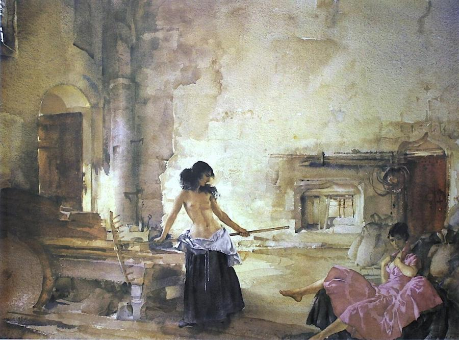 Sir William Russell Flint – In a Burgundian Granary (Print)