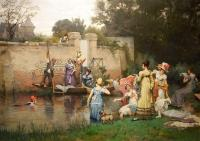 'Le Bain Des Dames' by Pierre Outin (1840-1899) Original Oil Painting-le-bain-des-dames-full-1600x1132-thumb