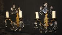 Period Bronze/Brass Twin Armed Sconce Set (pair) Circa 1930-sconce-set-331-thumb