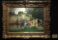 'Le Bain Des Dames' by Pierre Outin (1840-1899) Original Oil Painting-the-bathing-party-painting-1600x1110-thumb