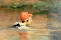 'Le Bain Des Dames' by Pierre Outin (1840-1899) Original Oil Painting-the-bathing-party-swimmer-1600x1067-thumb