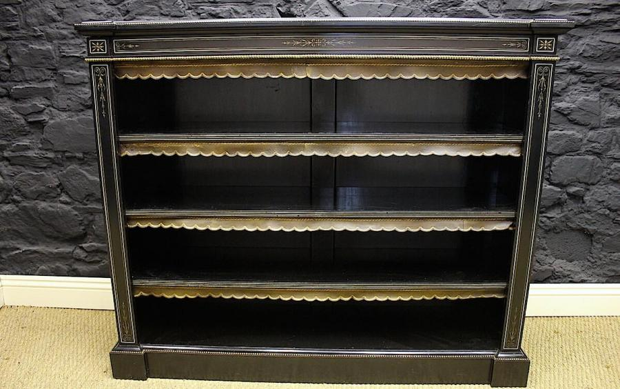 Victorian Ebonised and Gilt Mounted Bookcase
